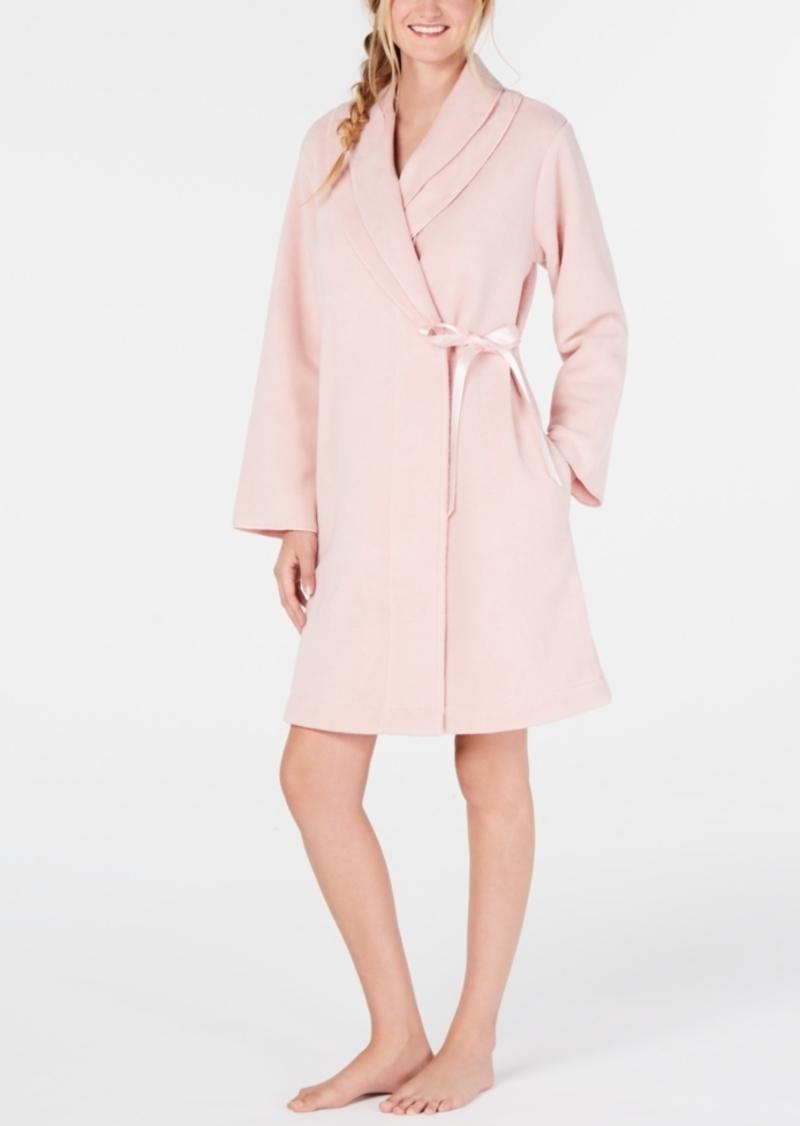 Charter Club Layered-Collar Fleece Short Robe, Created for Macy's