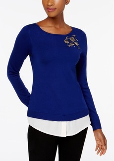 Charter Club Petite Jeweled Layered-Look Sweater, Created for Macy's