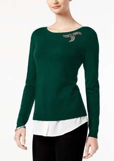 Charter Club Layered-Look Brooch Sweater, Created for Macy's