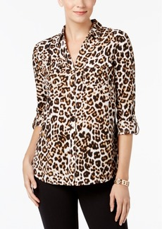 Charter Club Petite Leopard-Print Blouse, Created for Macy's