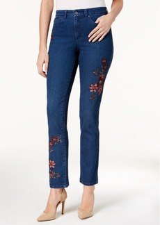Charter Club Lexington Embroidered Tummy-Control Straight-Leg Jeans, Created for Macy's