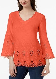 Charter Club Linen Bell-Sleeve Blouse, Created for Macy's