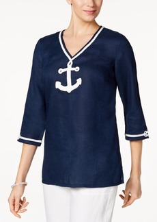 Charter Club Linen Embroidered Tunic, Only at Macy's