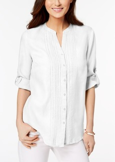 Charter Club Petite Linen Pleated Blouse, Created for Macy's