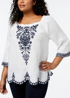 Charter Club Linen Plus Size Embroidered Peasant Top, Created for Macy's