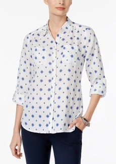 Charter Club Linen Printed Blouse, Created for Macy's