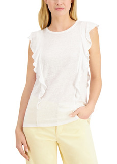 Charter Club Linen Ruffled Top, Created for Macy's