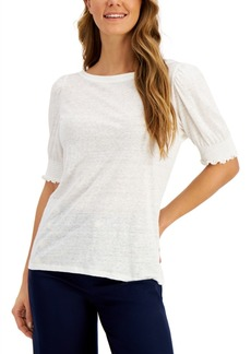 Charter Club Linen Smocked-Sleeve Top, Created for Macy's