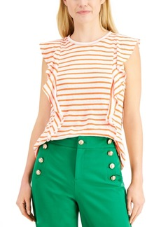 Charter Club Linen Striped Ruffled Top, Created for Macy's