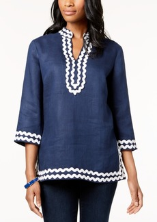Charter Club Petite Linen 3/4-Sleeve Tunic, Created for Macy's