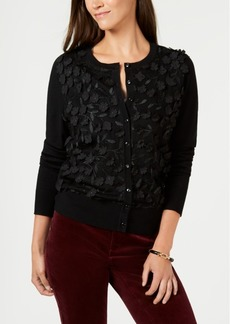 Charter Club Long-Sleeve Floral-Applique Cardigan, Created for Macy's