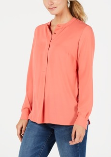Charter Club Petite Mandarin Collar Half-Button Top, Created for Macy's