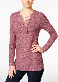 Charter Club Marled Lace-Up Sweater, Only at Macy's