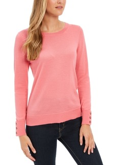 Charter Club Merino Wool Button-Cuff Crewneck Sweater, Created for Macy's