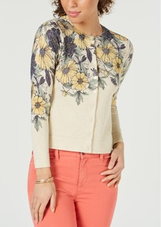 Charter Club Metallic Floral-Print Cardigan, Created for Macy's