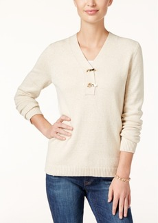 Charter Club Metallic Henley Sweater, Only at Macy's