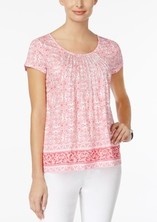 Charter Club Metallic-Pleated Printed Cotton Top, Created for Macy's