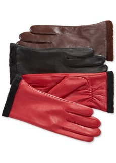 Charter Club Micro Faux Fur Lined Leather Tech Gloves, Only at Macy's