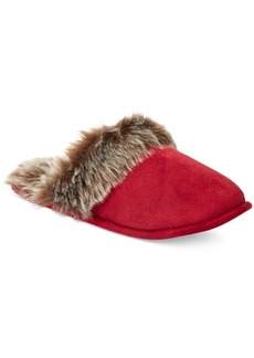 Charter Club Micro Velour Faux-Fur Scuff Slippers, Created for Macy's