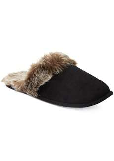 Charter Club Micro Velour Faux-Fur Scuff Slippers, Only at Macy's
