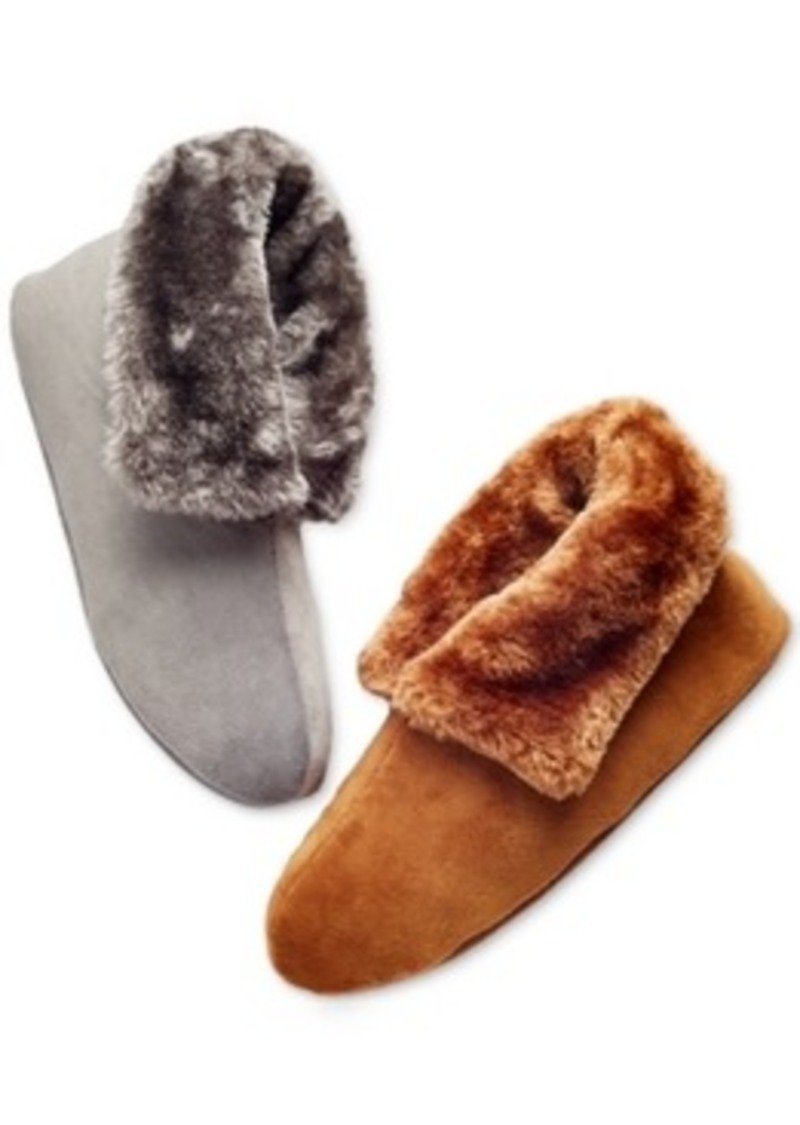 Charter Club Microfiber Velour Boot with Faux Fur Slippers