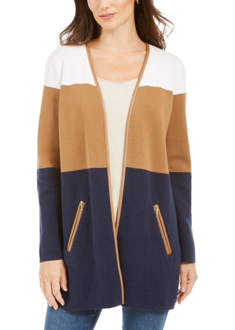 Charter Club Milano Cotton Colorblocked Cardigan, Created for Macy's