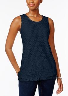 Charter Club Mixed Lace-Front Tank Top, Created for Macy's