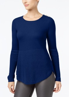 Charter Club Mixed-Stitch Button-Shoulder Sweater, Created for Macy's