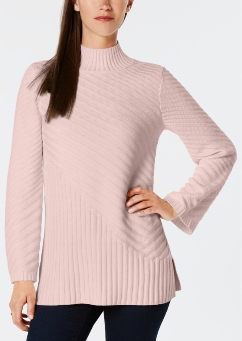 Charter Club Petite Patterned Mock Turtleneck Sweater, Created for Macy's