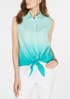 Charter Club Ombre Tie-Front Linen Sleeveless Top, Created for Macy's