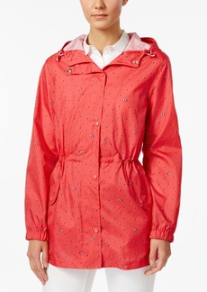 Charter Club Petite Printed Packable Hooded Utility Raincoat, Created for Macy's