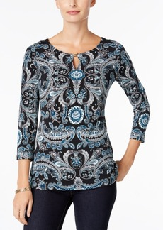 Charter Club Paisley-Print Keyhole Top, Only at Macy's