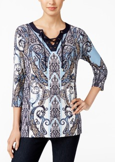 Charter Club Paisley-Print Lace-Up Top, Only at Macy's