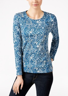 Charter Club Paisley-Print Long-Sleeve Top, Only at Macy's