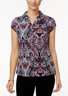 Charter Club Paisley-Print Polo Top, Only at Macys