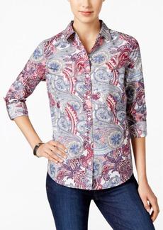 Charter Club Paisley-Print Roll-Tab Shirt, Only at Macy's