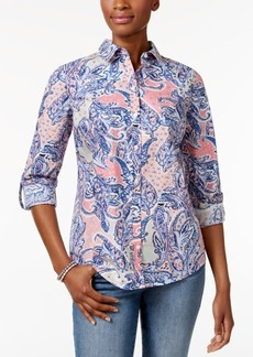 Charter Club Petite Cotton Paisley-Print Shirt, Created for Macy's