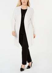Charter Club Plus Size Patterned Open-Front Cardigan, Created for Macy's