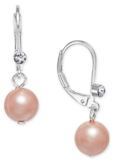 Charter Club Pave & Imitation Pearl Drop Earrings, Created for Macy's