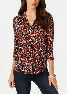 Charter Club Petite 3/4-Sleeve Floral-Print Top, Created for Macy's