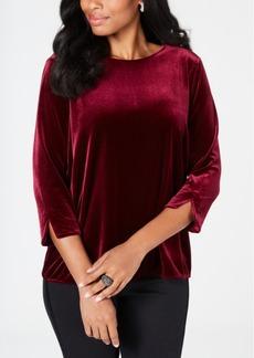 Charter Club Petite 3/4-Sleeve Velvet Top, Created for Macy's
