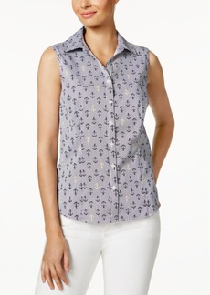 Charter Club Petite Anchor-Print Shirt, Created for Macy's