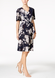 Charter Club Petite Belted Floral-Print Flutter-Sleeve Dress, Created for Macy's