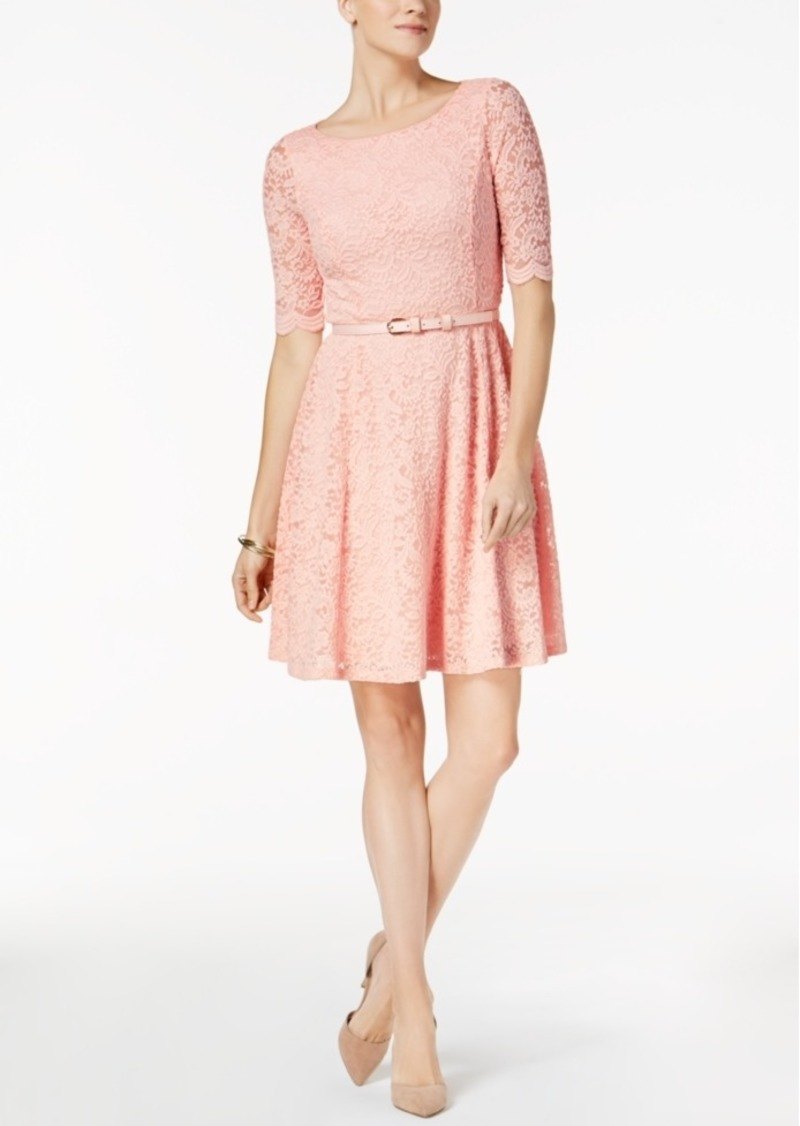 8c64f2854d1a Charter Club Charter Club Petite Belted Lace Dress, Created for Macy's