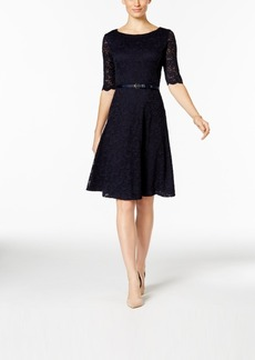 Charter Club Petite Belted Lace Fit & Flare Dress, Only at Macy's