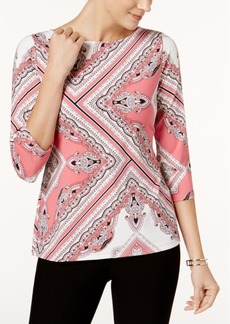 Charter Club Petite Boat-Neck 3/4-Sleeve Top, Created for Macy's