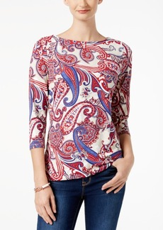 Charter Club Petite Boat-Neck Printed Top, Created for Macy's