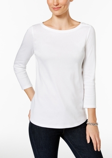 Charter Club Petite Button-Shoulder Top, Created for Macy's