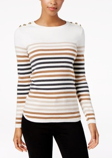 Charter Club Petite Button-Trim Striped Sweater, Created for Macy's