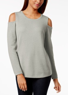 Charter Club Petite Cashmere Cold-Shoulder Sweater, Created for Macy's